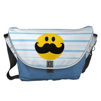 Smiley del bigote bolsa de mensajería