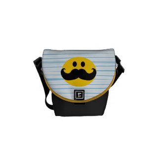 Smiley del bigote bolsa de mensajeria