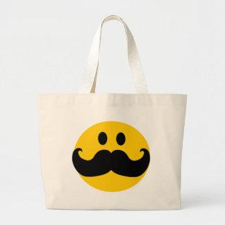 Smiley del bigote (color de fondo adaptable) bolsa tela grande