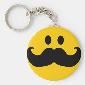 Smiley del bigote (color de fondo adaptable) llavero redondo tipo pin