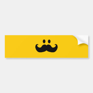 Smiley del bigote (color de fondo adaptable) pegatina para auto