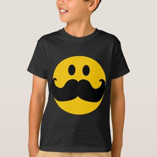Smiley del bigote (color de fondo adaptable) poleras