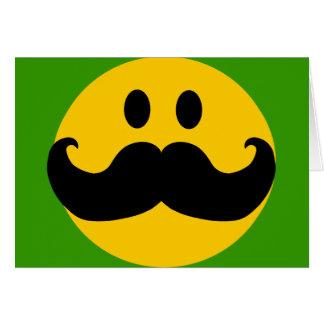 Smiley del bigote (color de fondo adaptable) tarjeta de felicitación