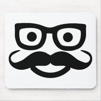 smiley del bigote de los vidrios alfombrillas de ratones