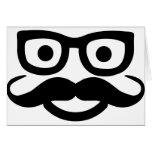 smiley del bigote de los vidrios tarjeta