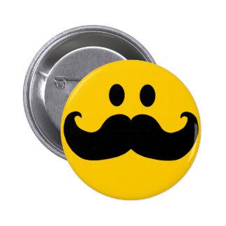 Smiley del bigote pin redondo de 2 pulgadas