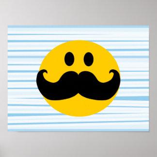 Smiley del bigote póster