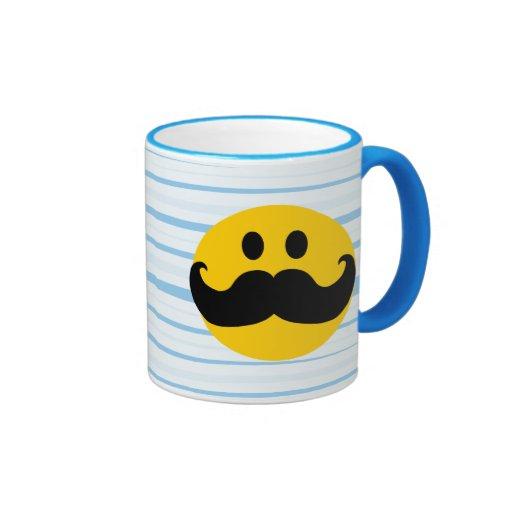 Smiley del bigote tazas de café