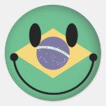 Smiley del Brasil Etiqueta Redonda