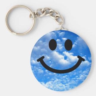 Smiley del cielo llavero redondo tipo pin