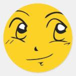 Smiley del estilo de Manga: Contento Etiqueta Redonda