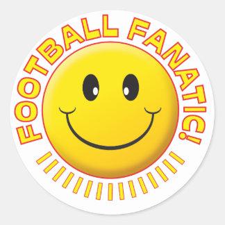 Smiley del fanático del fútbol etiquetas redondas