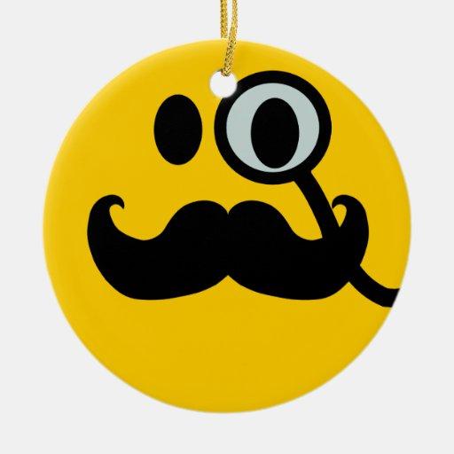 Smiley del monóculo del bigote adorno redondo de cerámica