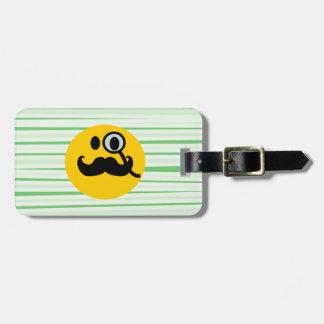 Smiley del monóculo del bigote etiquetas de maletas