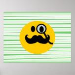 Smiley del monóculo del bigote poster