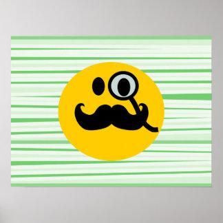 Smiley del monóculo del bigote póster