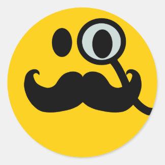 Smiley del monóculo y del bigote (backgrnd pegatina redonda