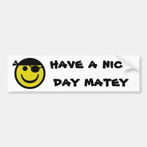 Smiley del pirata etiqueta de parachoque