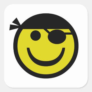 Smiley del pirata pegatina cuadrada