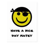Smiley del pirata tarjeta postal