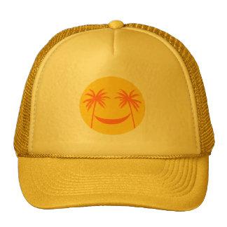 smiley del sol con las palmeras y la hamaca gorros