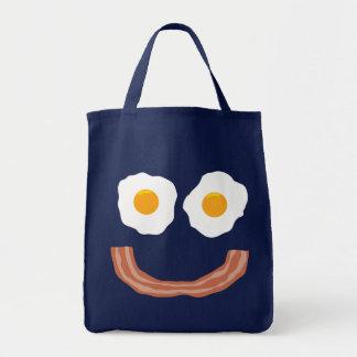 Smiley del tocino de los huevos bolsas lienzo
