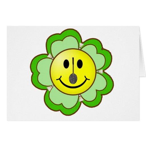 Smiley del trébol del bádminton tarjeta de felicitación