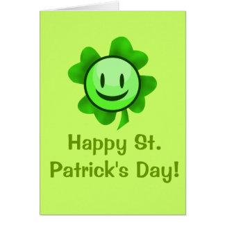 Smiley del trébol del día de St Patrick Tarjeta De Felicitación