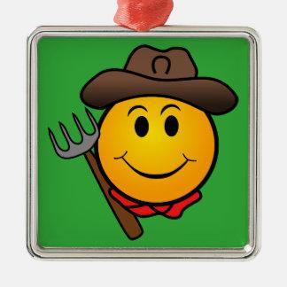Smiley del vaquero adorno navideño cuadrado de metal