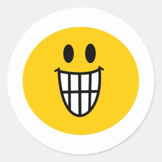 Smiley dentudo de la mueca etiquetas redondas
