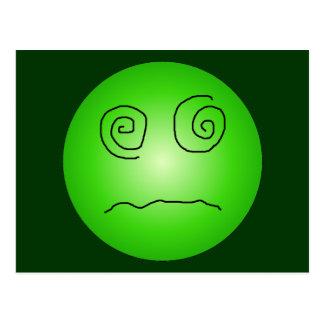 Smiley deslumbrado y confundido del verde postal