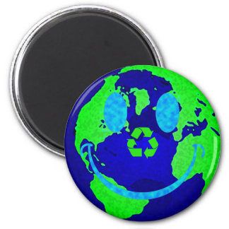 Smiley Earth 2 Inch Round Magnet
