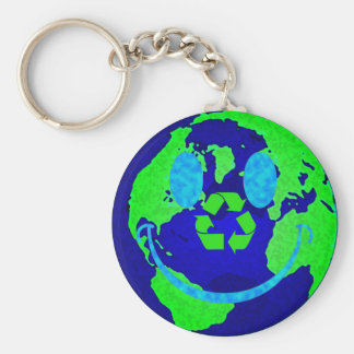 Smiley Earth Basic Round Button Keychain
