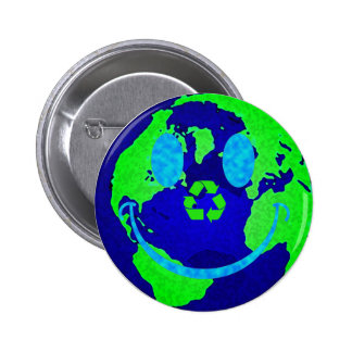 Smiley Earth Pinback Buttons