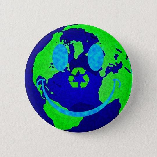 Smiley Earth Pinback Button
