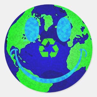 Smiley Earth Round Sticker