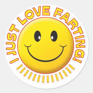 Smiley el Farting del amor Pegatina Redonda