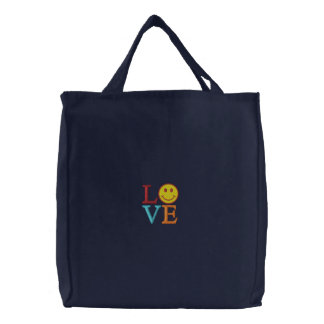 Smiley Embroidered Tote Bag