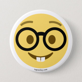 Smiley Emoji nerd with eyeglasses and hare teeth Pinback Button