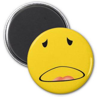 smiley emoticon i feel sick 2 inch round magnet