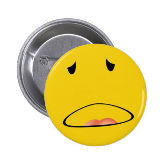 smiley emoticon i feel sick pinback buttons