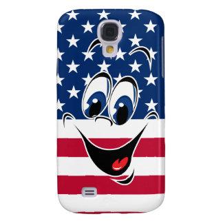 Smiley Face America Flag Funny Patriotic Emoticon Galaxy S4 Covers