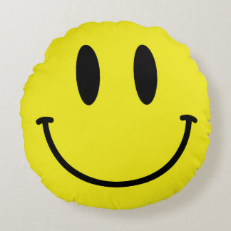 Smiley Face and Sad Face Yellow Round Pillow