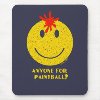 Smiley Face: Anyone for Paintball? Distressed Mouse Pad