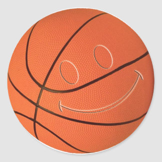 SMILEY FACE BASKETBALL CLASSIC ROUND STICKER