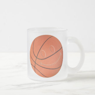 SMILEY FACE BASKETBALL FROSTED GLASS COFFEE MUG