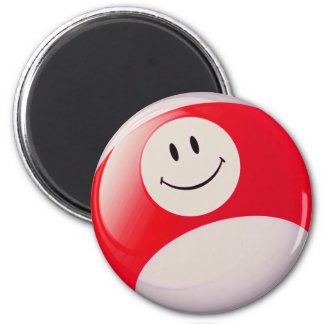 Smiley Face Billiards Ball 2 Inch Round Magnet