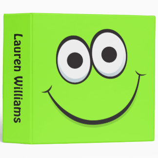 Smiley face binder, personalized green binder