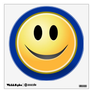 Smiley Face Blue Wall Decal