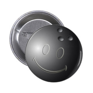 SMILEY FACE BOWLING BALL 2 INCH ROUND BUTTON